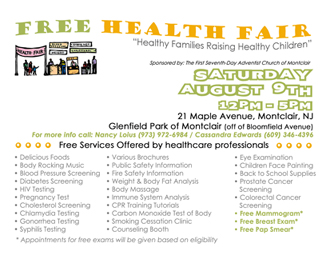 Health Fair, 8/9, contacts Nancy 