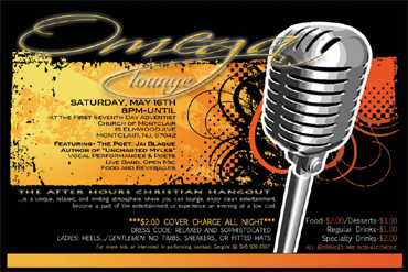 Omega Lounge, Saturday, May 16 -8pm